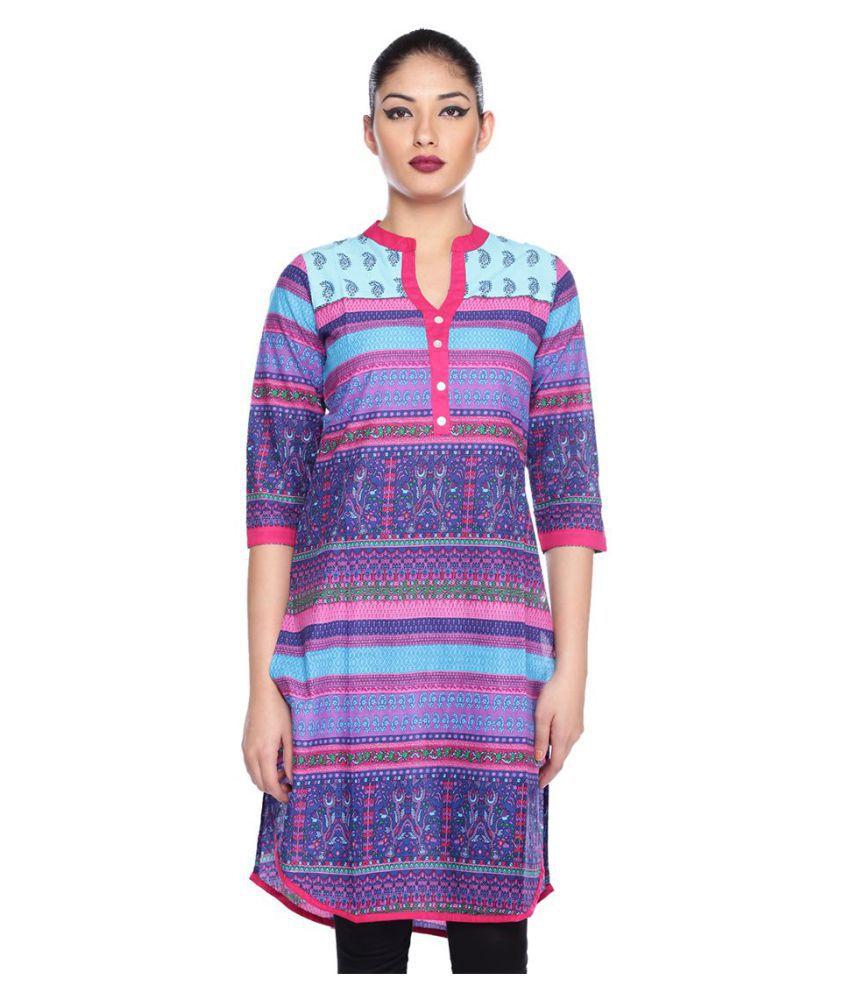 Mavie Multicoloured Cotton Straight Kurti