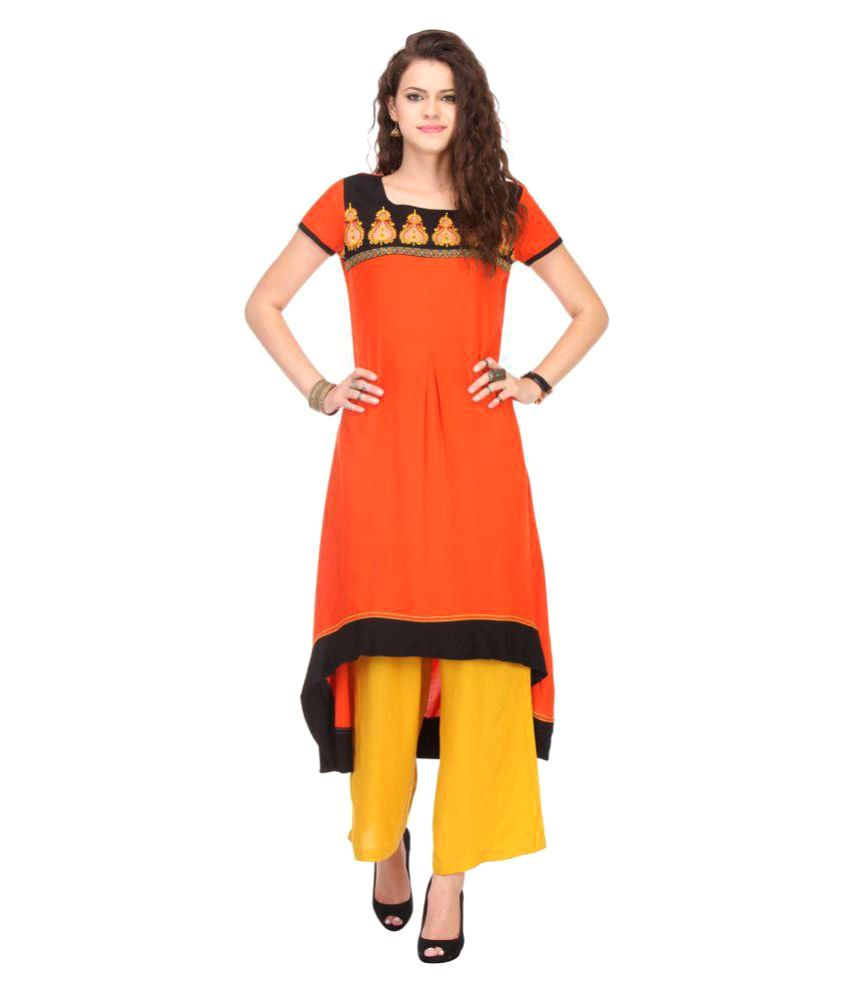 An Ethnic Affair Orange Rayon Asymmetrical Hemline Kurti
