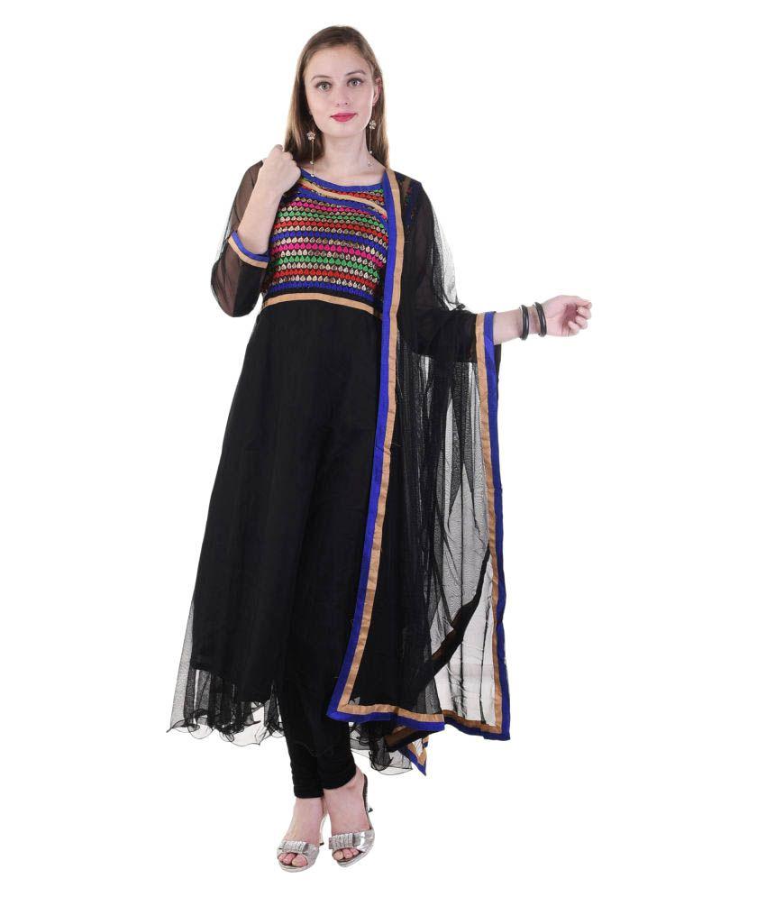 Maahi Black Net Anarkali Stitched Suit