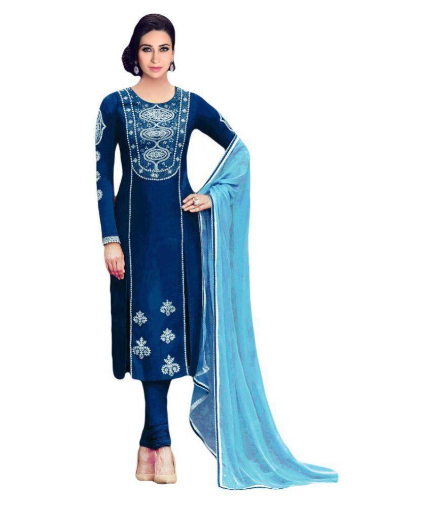 Od'In Paris Blue Cotton Dress Material