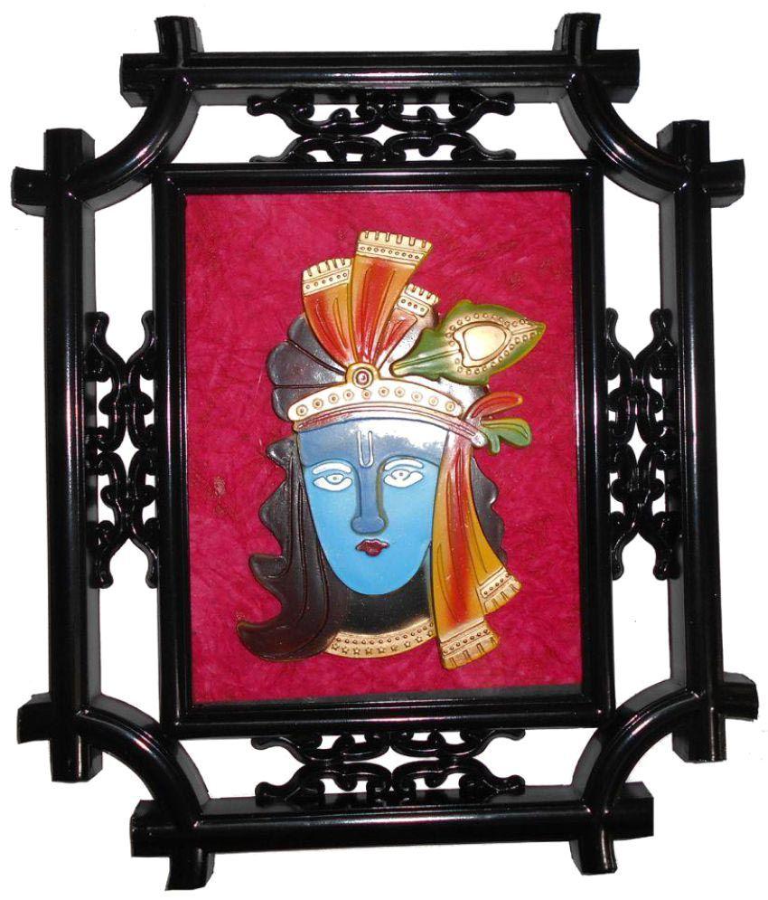 Vedanta Krishna Wood Painting With Frame Single Piece
