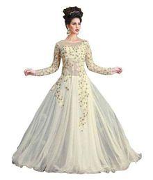 Lilaba Fashion White Net Anarkali Gown Semi-Stitched Suit