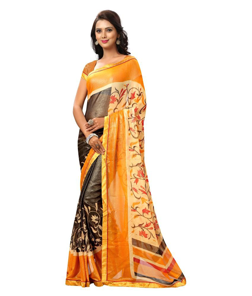 Chigy Whigy Yellow Georgette Saree
