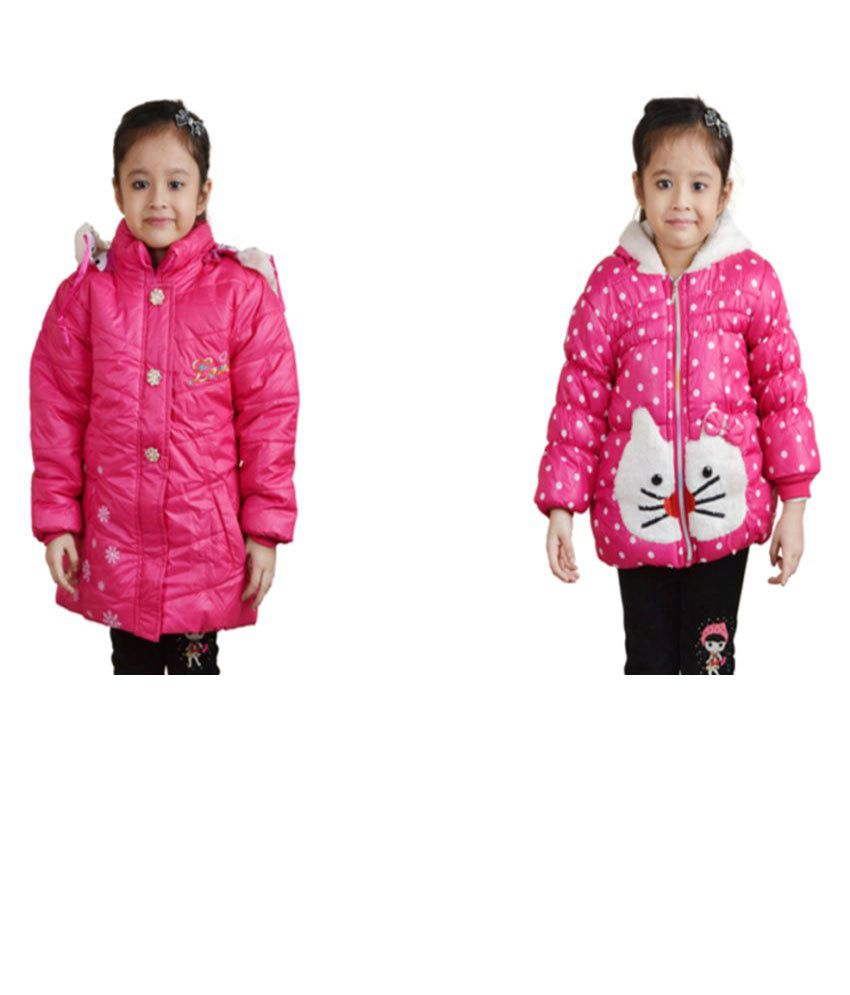 Crazeis Pink Jackets For Girls (Pack of 2)