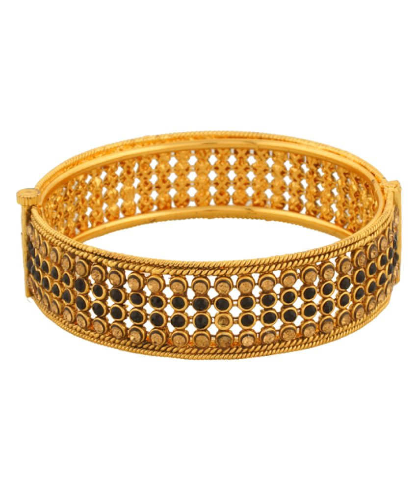 Vama Fashions Unique Royal Indian Traditional Ethnic Stunning Gold Plated Bridal Designer Bangle Kada with Polki/A.D for Girls & Women.-Size-2.6