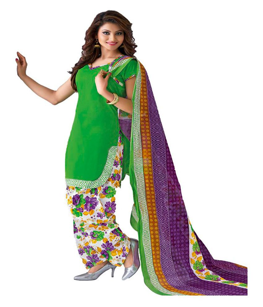 Skyzone Group Green Cotton Dress Material