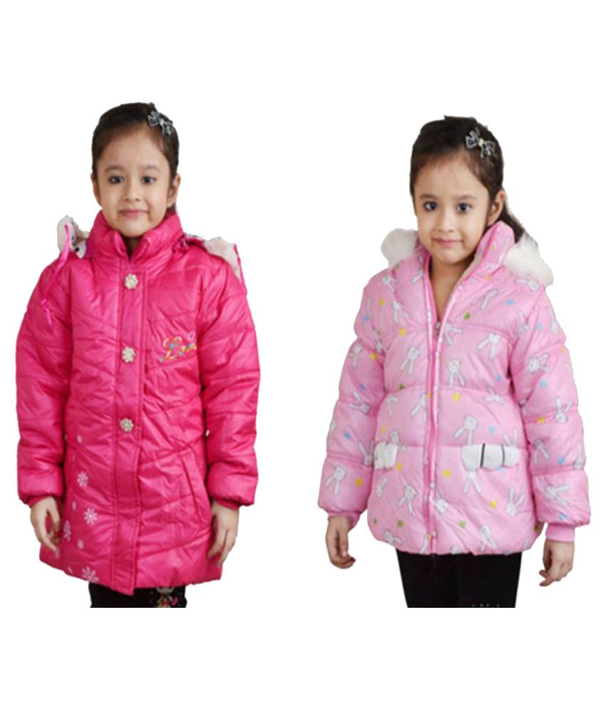 Crazeis Deep Pink Quilted Jacket - Pack of 2