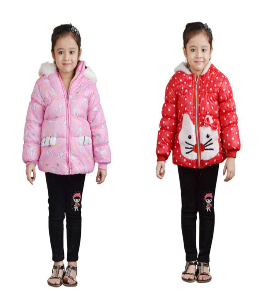 Qeboo Multicolour Nylon Jackets for Girls - Combo of 2