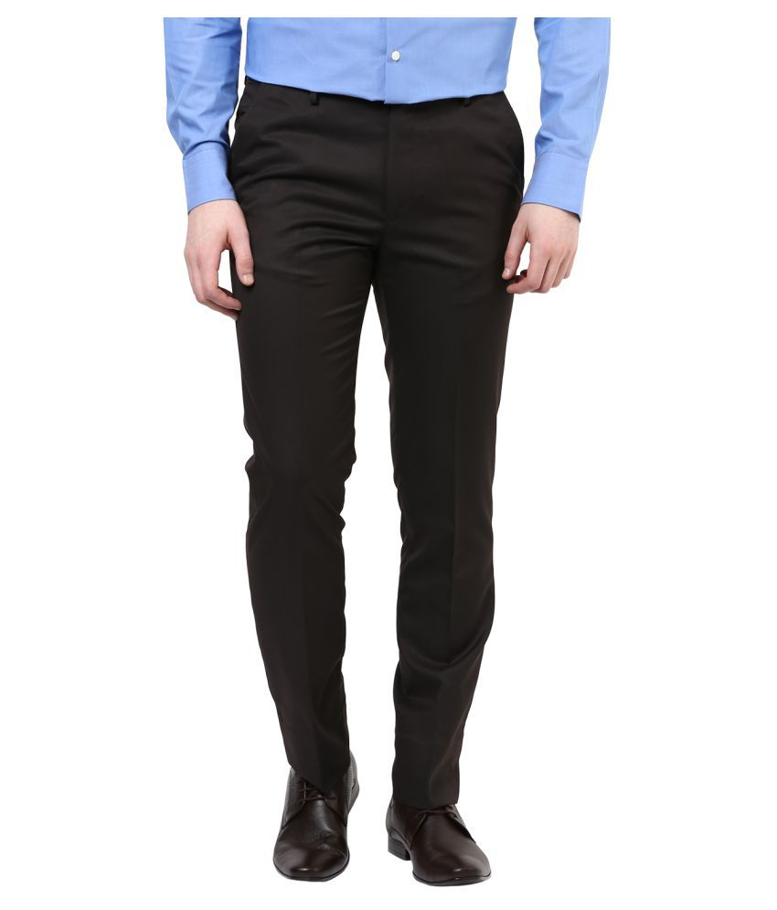 Richard Parker by Pantaloons Brown Slim Flat Trousers
