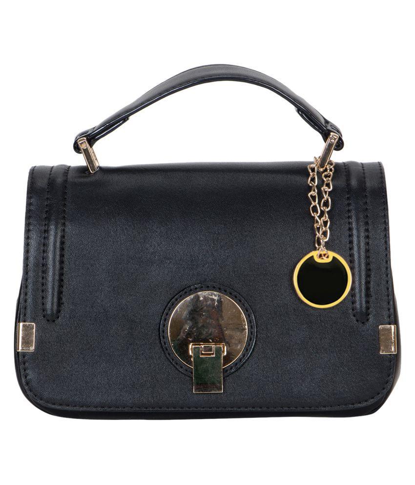 Crawler Black Faux Leather Sling Bag