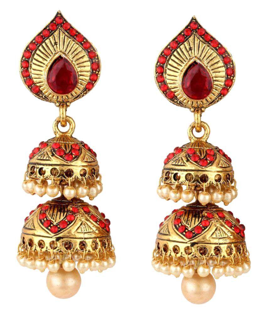 Styylo Fashion Exclusive Maroon Jhumki Earrings
