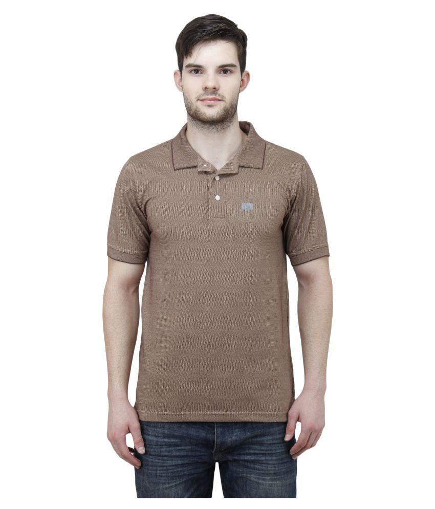 T10 Sports Brown Cotton Lycra Polo T-Shirt