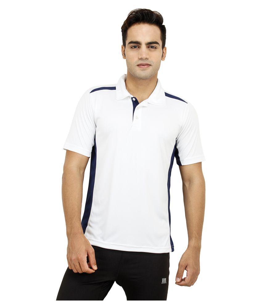 T10 Sports White Cotton Lycra Polo T-Shirt