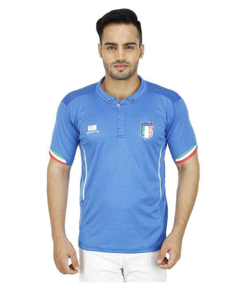 T10 Sports Blue Cotton Lycra Polo T-Shirt