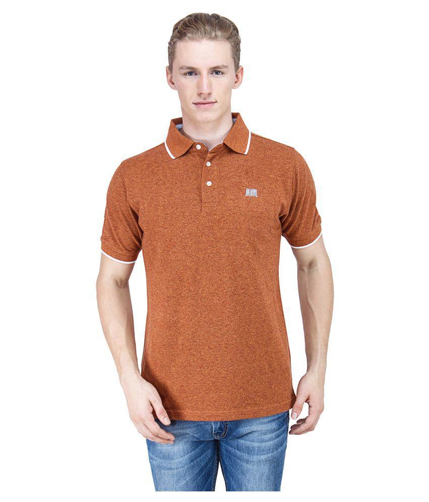 T10 Sports Orange Cotton Lycra Polo T-Shirt