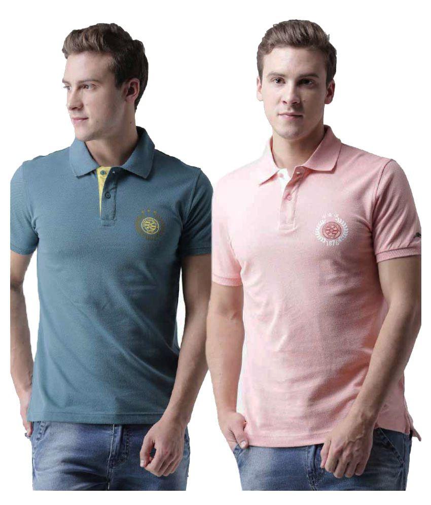 2Go Multi Regular Fit Polo T Shirt Pack of 2