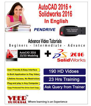 AutoCAD 2016 + Solidworks 2016 Basic to Advance Video Training Pen Drive