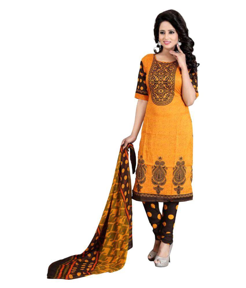 V/S Fashion Yellow Cotton Silk Dress Material