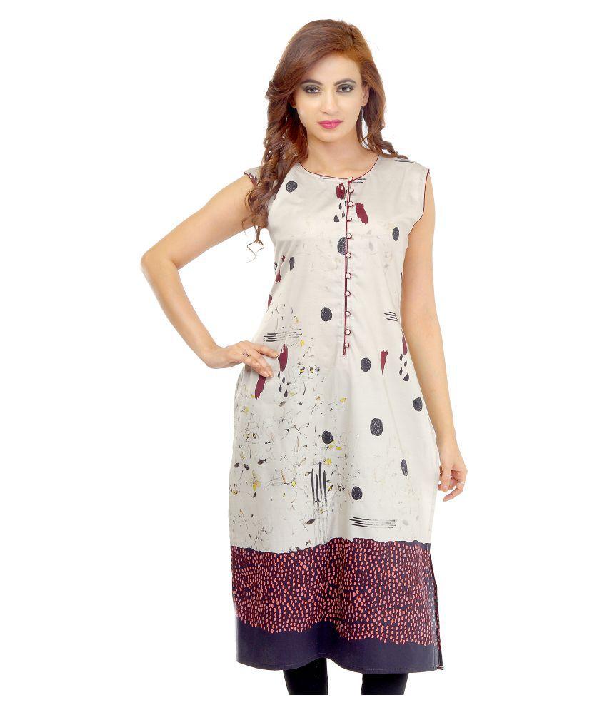 Ladybond Multicoloured Cotton Straight Kurti