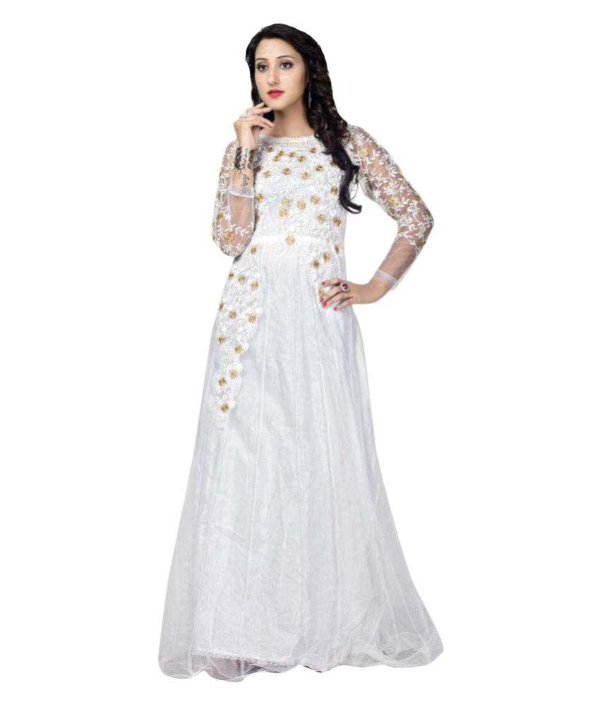 ffa9ca8040bf Sadhana Impex White Net Anarkali Gown Semi-Stitched Suit - Buy Sadhana  Impex White Net Anarkali Gown Semi-Stitched Suit Online at Best Prices in  India on ...