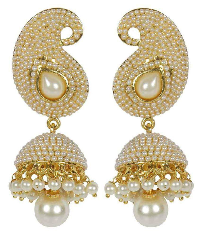 Jewels Gold Multicolour Alloy Studding Pearls Contemporary Jhumki Earrings