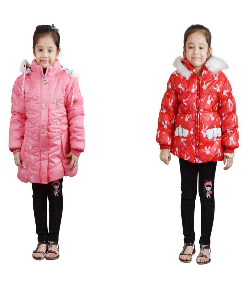 Qeboo Full Sleeves Nylon Jackets for Girls Combo of 2
