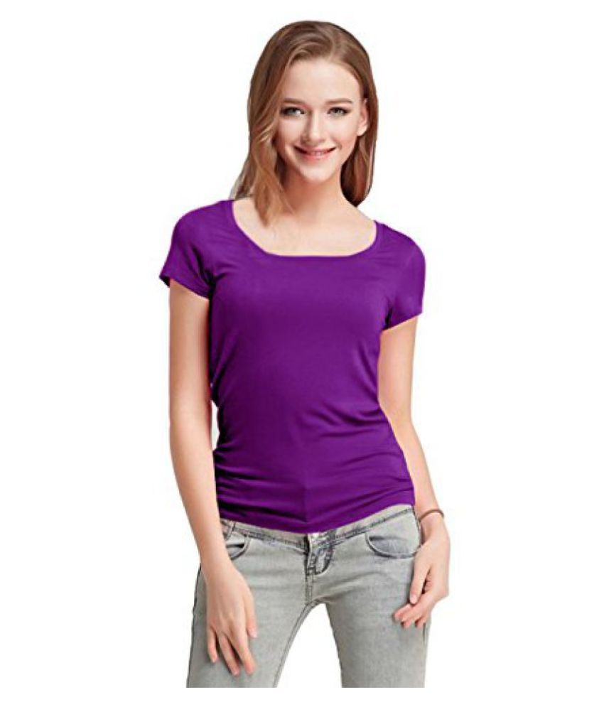 FASHION LINE Women's Purple Short-Sleeve T-Shirt