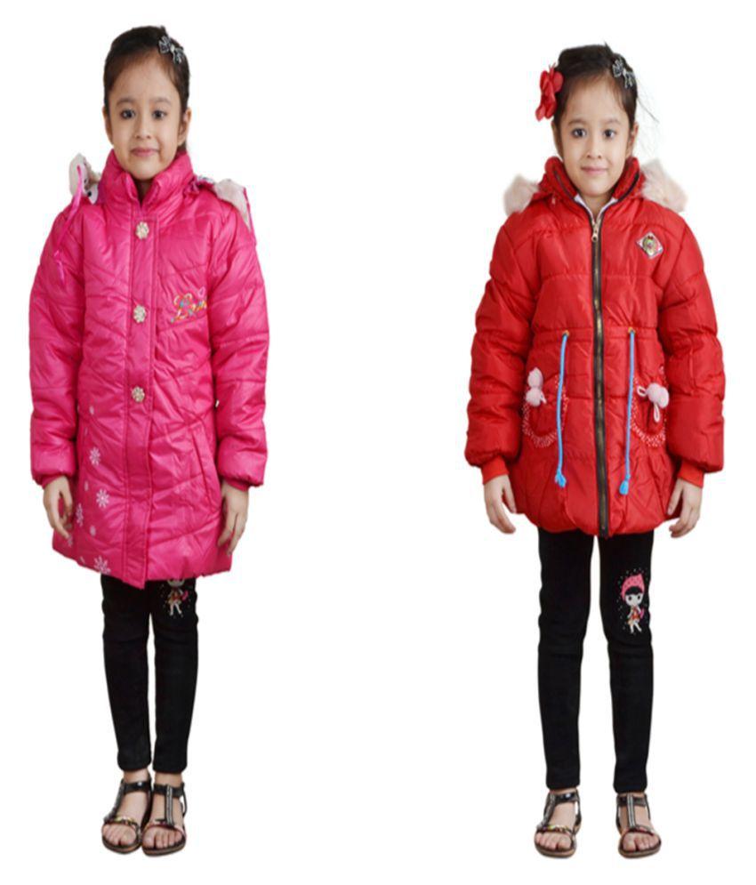 Qeboo Multicolour Nylon Jackets for Girls Combo of 2