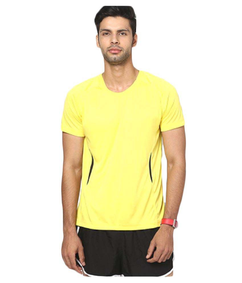T10 Sports Yellow Cotton Lycra T-Shirt