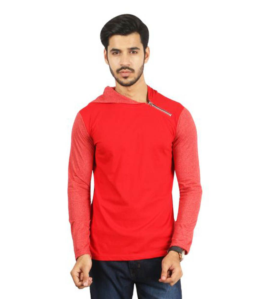 Ess Bee Red Hooded T-Shirt