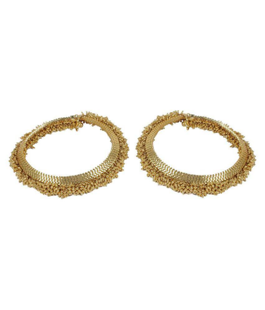 Much More Golden Alloy Anklets