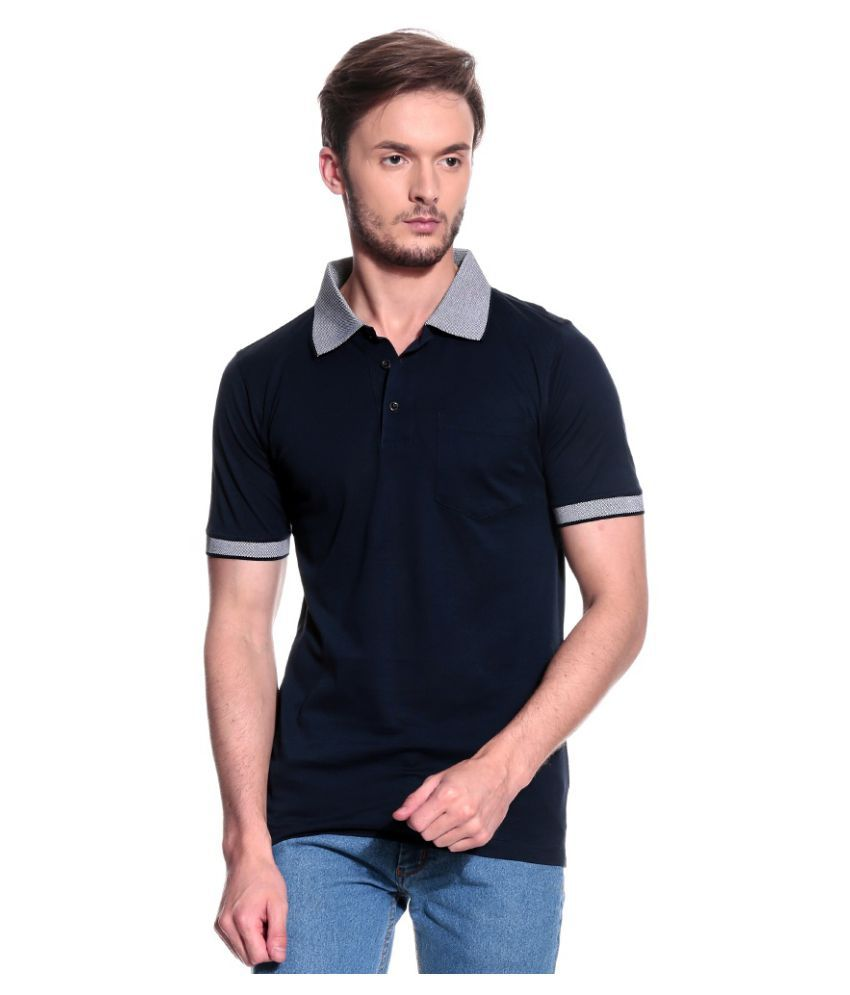 T10 Sports Navy Cotton Lycra Polo T-Shirt