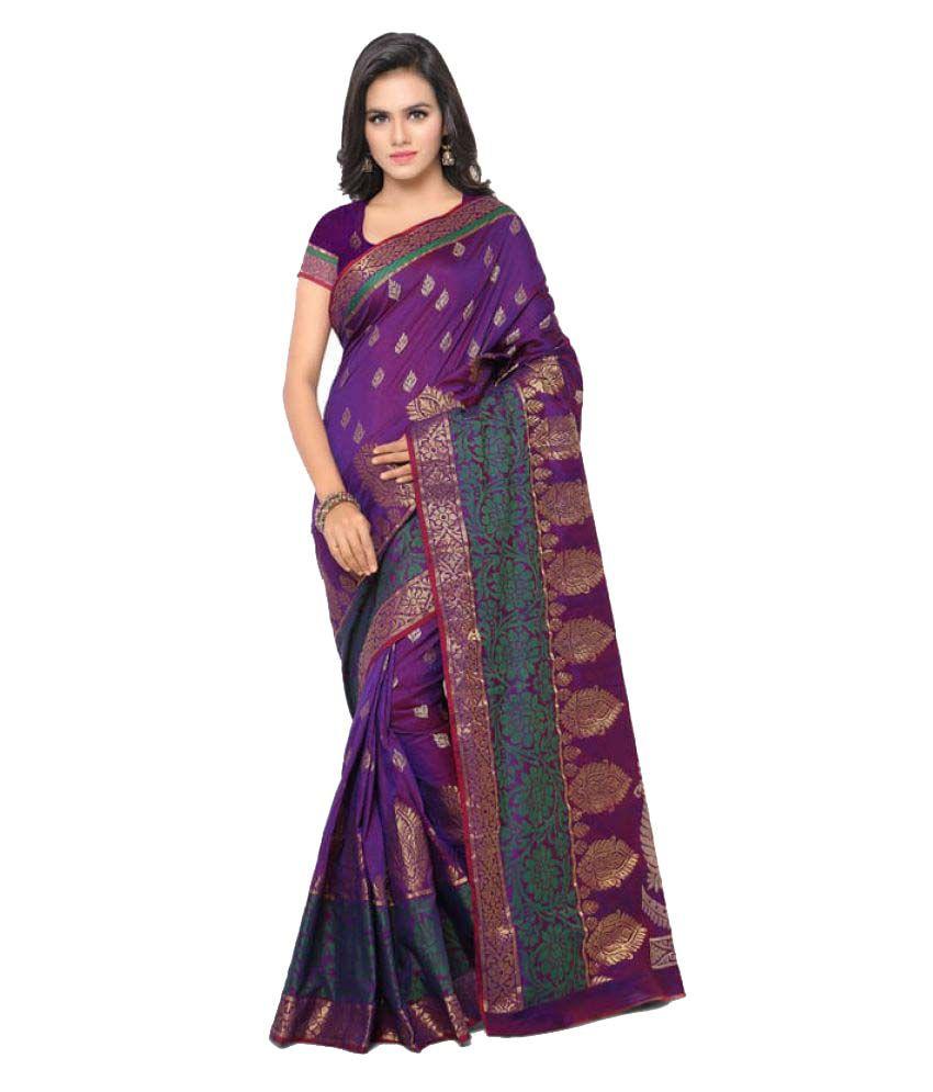 97colours Purple Banarasi Silk Saree