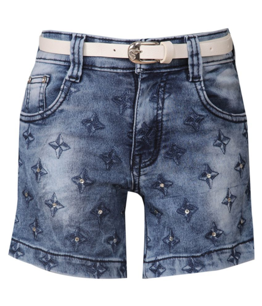 FCK-3 Blue Cotton Blend Hot Pants