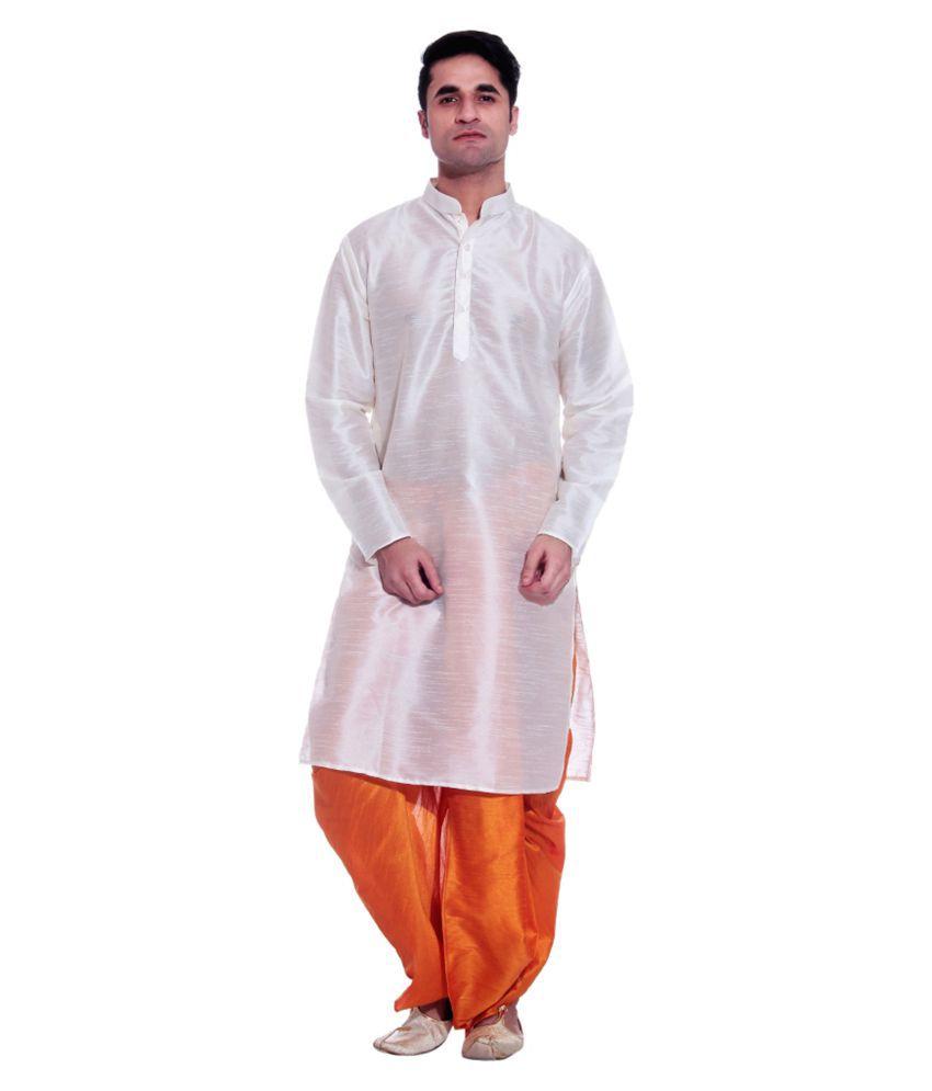 e3688fcac Larwa White Silk Dhoti Kurta Set - Buy Larwa White Silk Dhoti Kurta Set  Online at Low Price in India - Snapdeal