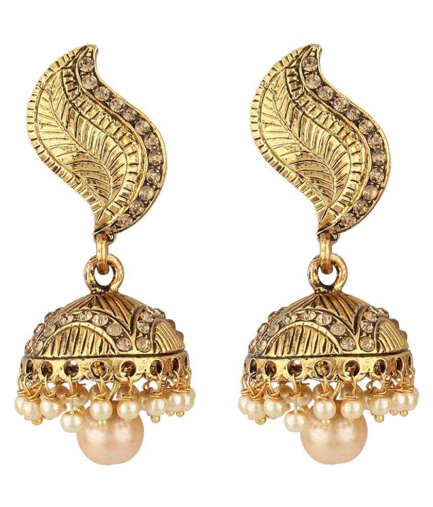 Jewels Guru Golden Alloy Jhumkis