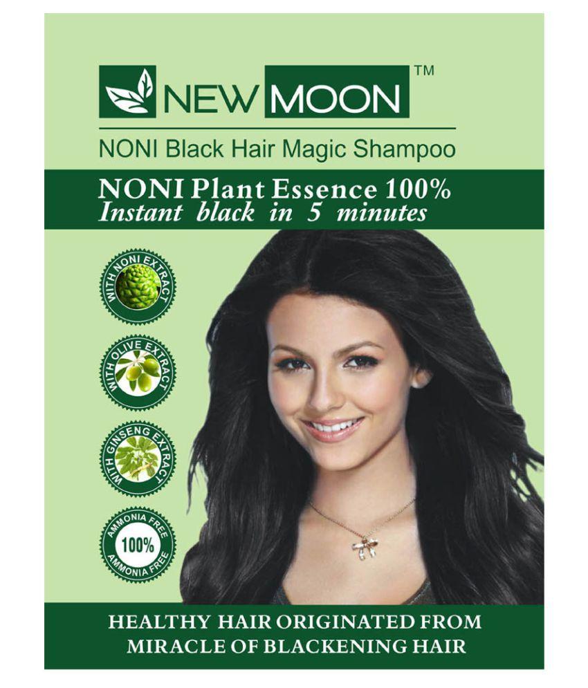 New Moon Noni permanent black hair Permanent Hair Color Black Black 15 ml Pack of 10