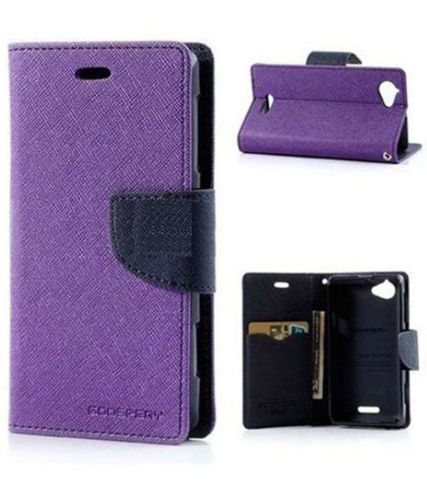 Lenovo A390 Flip Cover by Goldenize   Purple available at SnapDeal for Rs.336