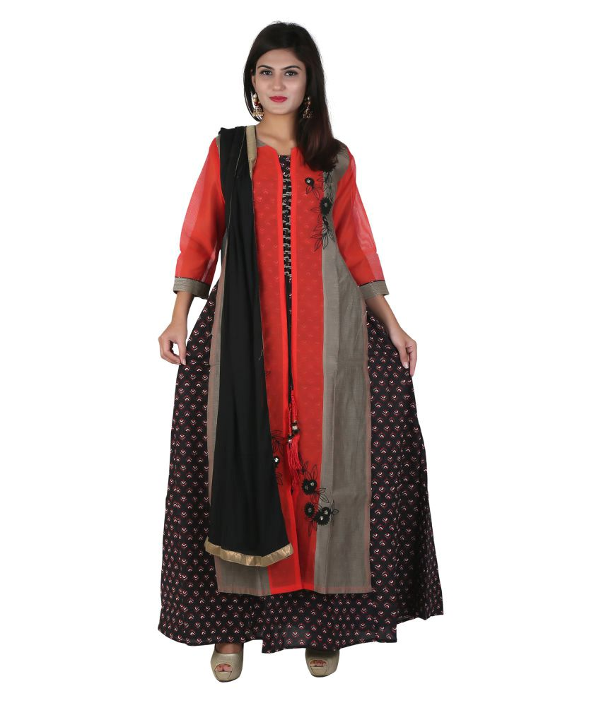 Payal Multicoloured Chanderi Straight Stitched Suit