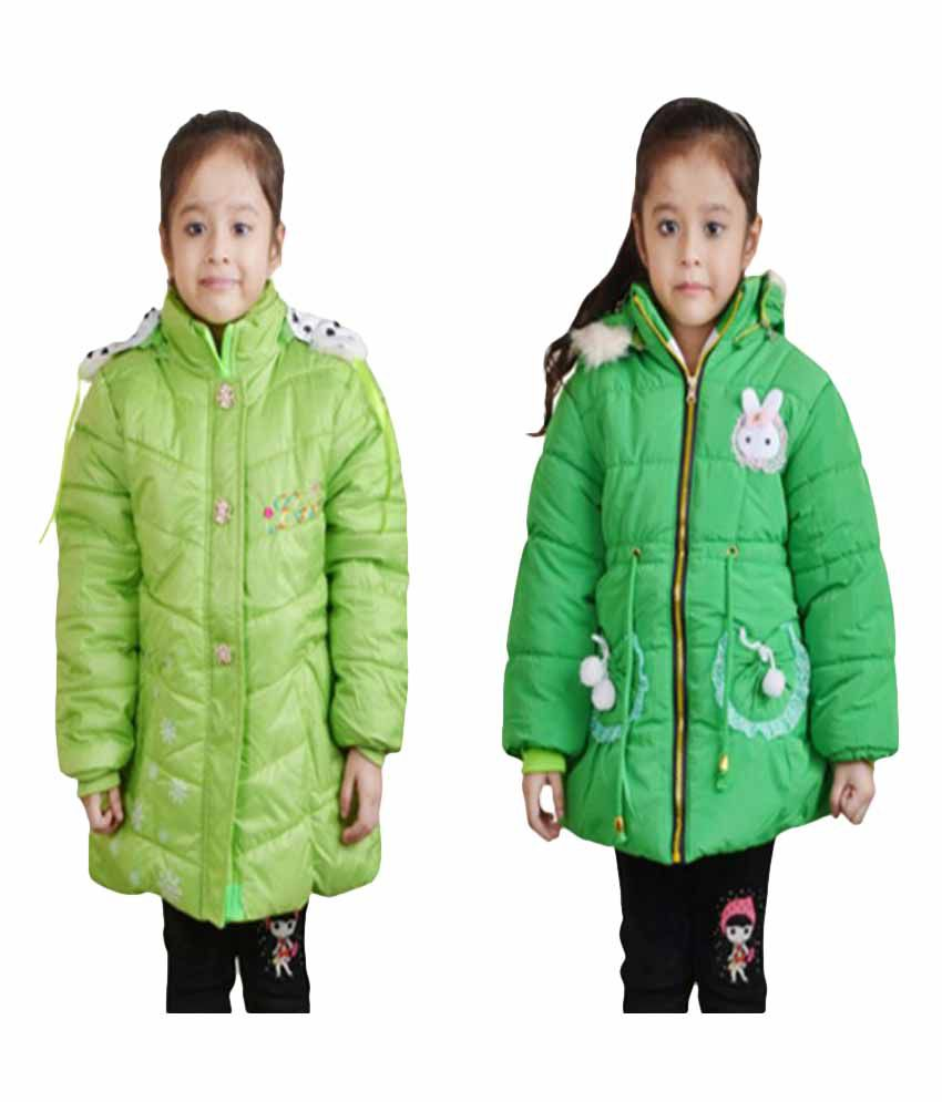 Crazeis Green Quilted Jackets - Pack of 2