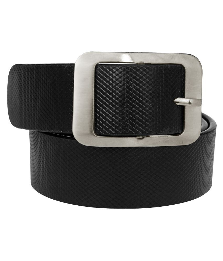 Crude Black Faux Leather Casual Belt