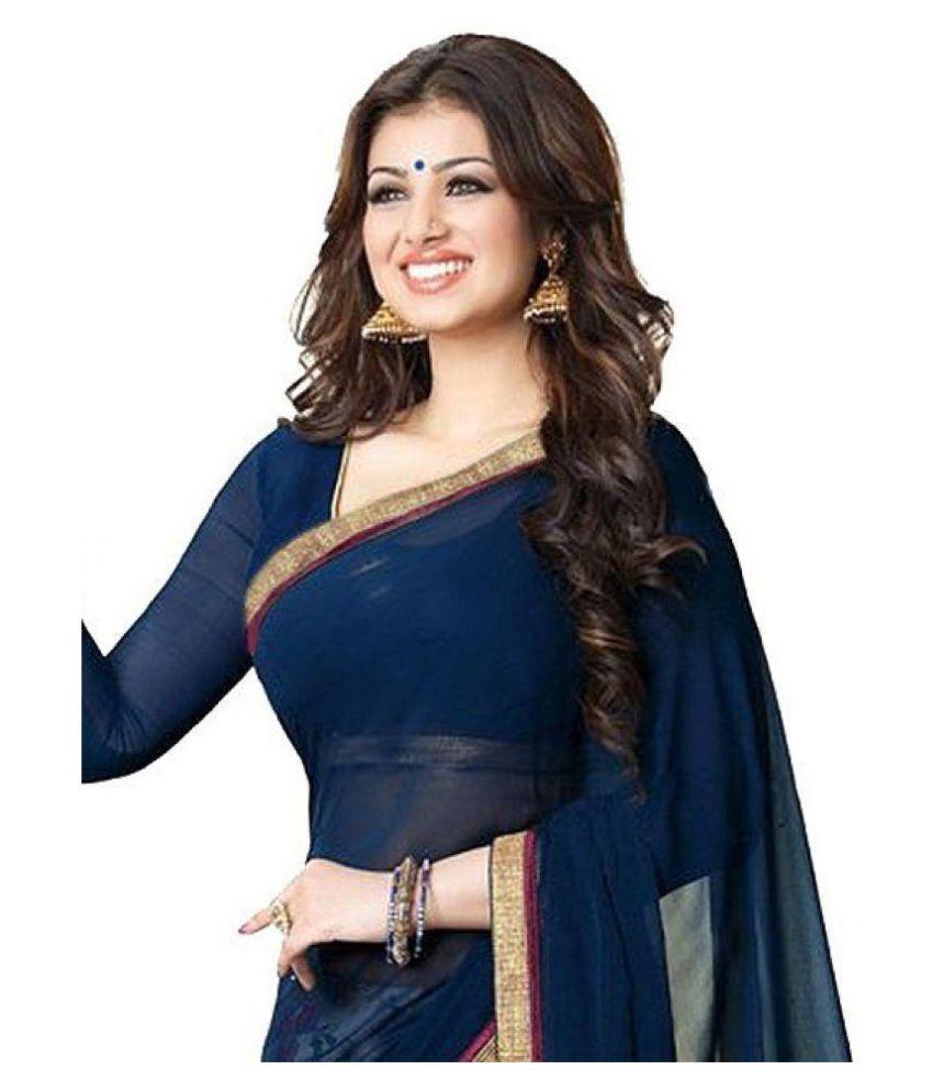 9a2d289aea Gazal Fashions Blue and Grey Chiffon Saree - Buy Gazal Fashions Blue ...