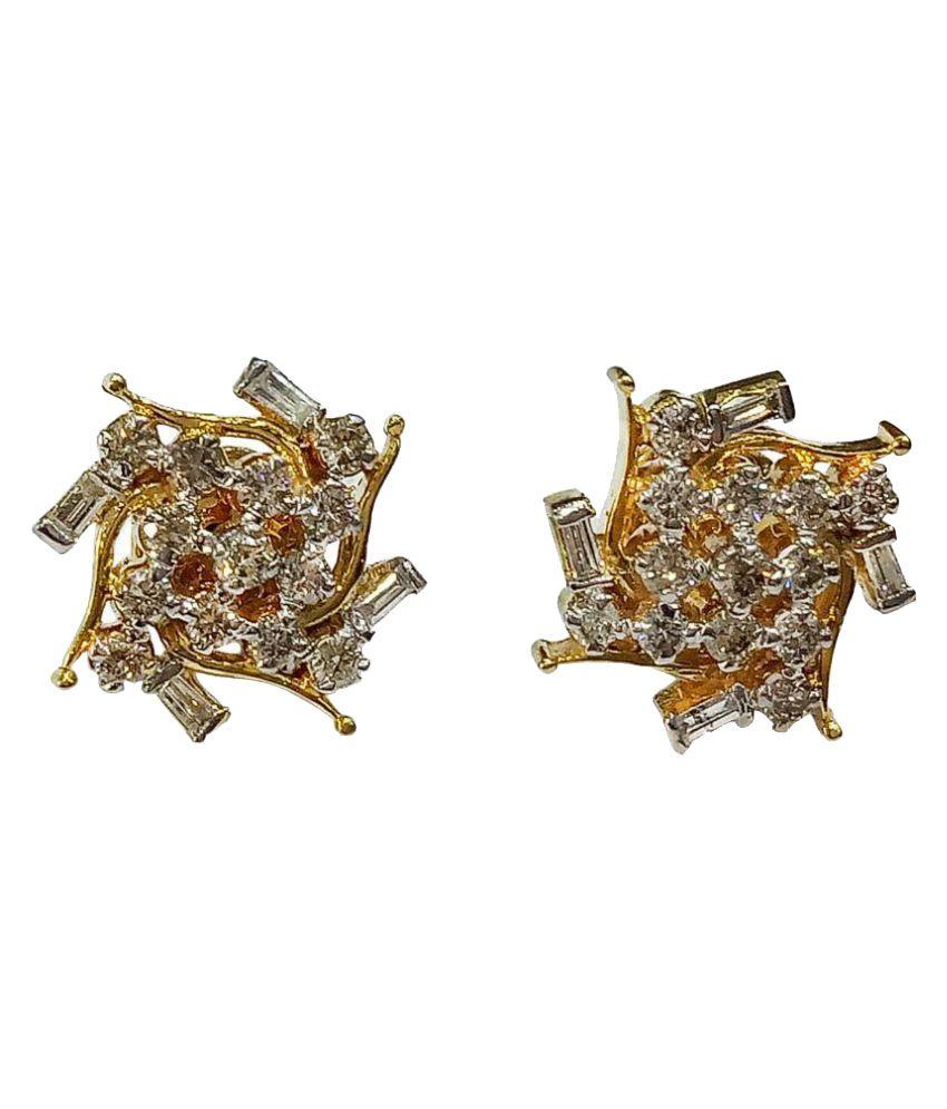 New Kataria Jewellers 18k Gold Amber Studs