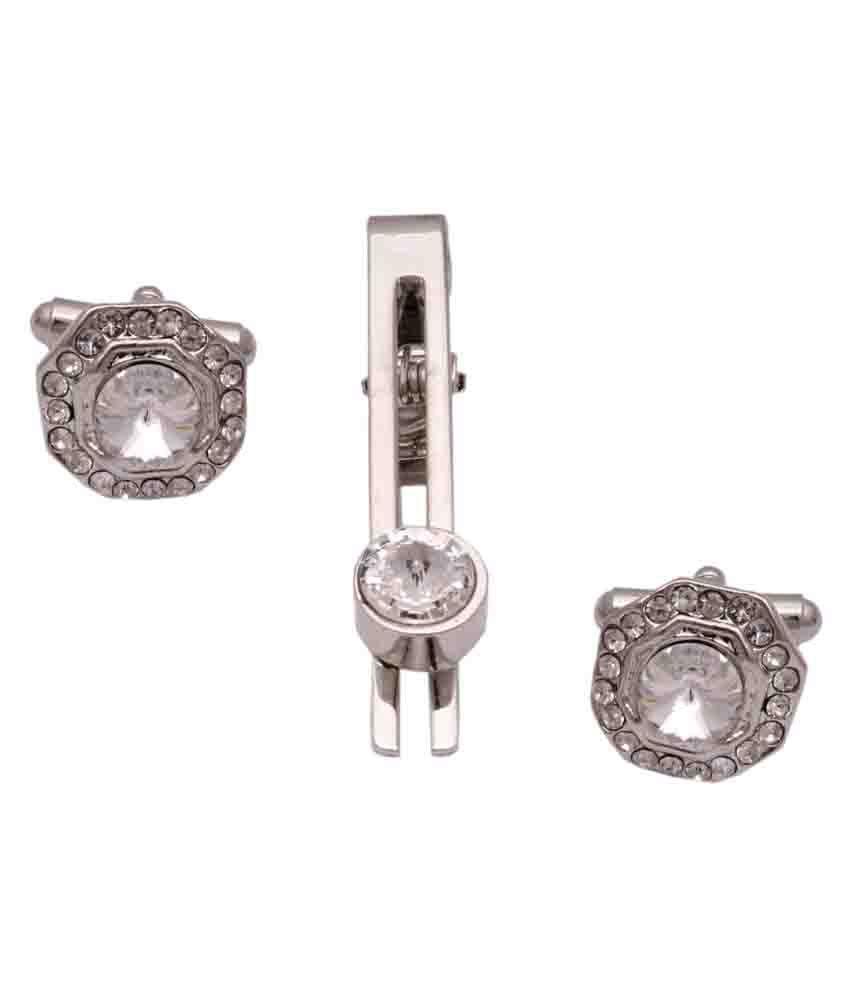 Sushito Sparkling Silver Hexagone Cufflink with Tie Pin