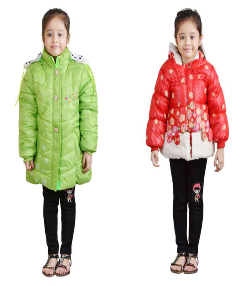Qeboo Multicolour Nylon Jackets For Girls Pack of 2