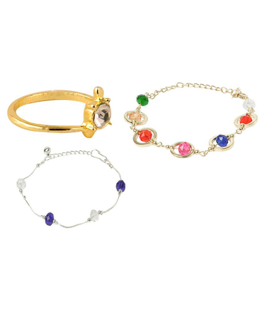 Uma Multicolor Combo of Anklet, Bracelet and Toe-Ring