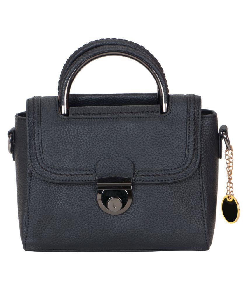 Smerize Black Faux Leather Sling Bag