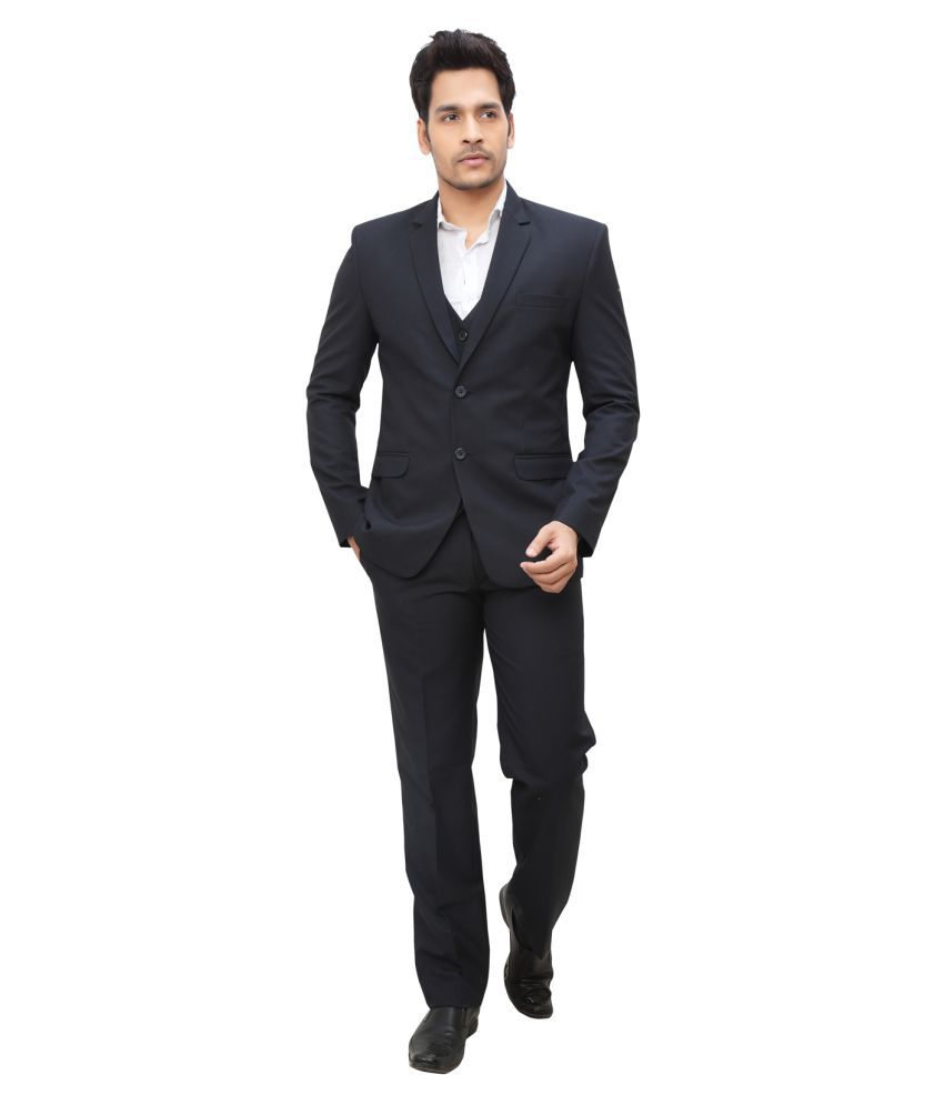 nu abc garments Blue Plain Casual Suit