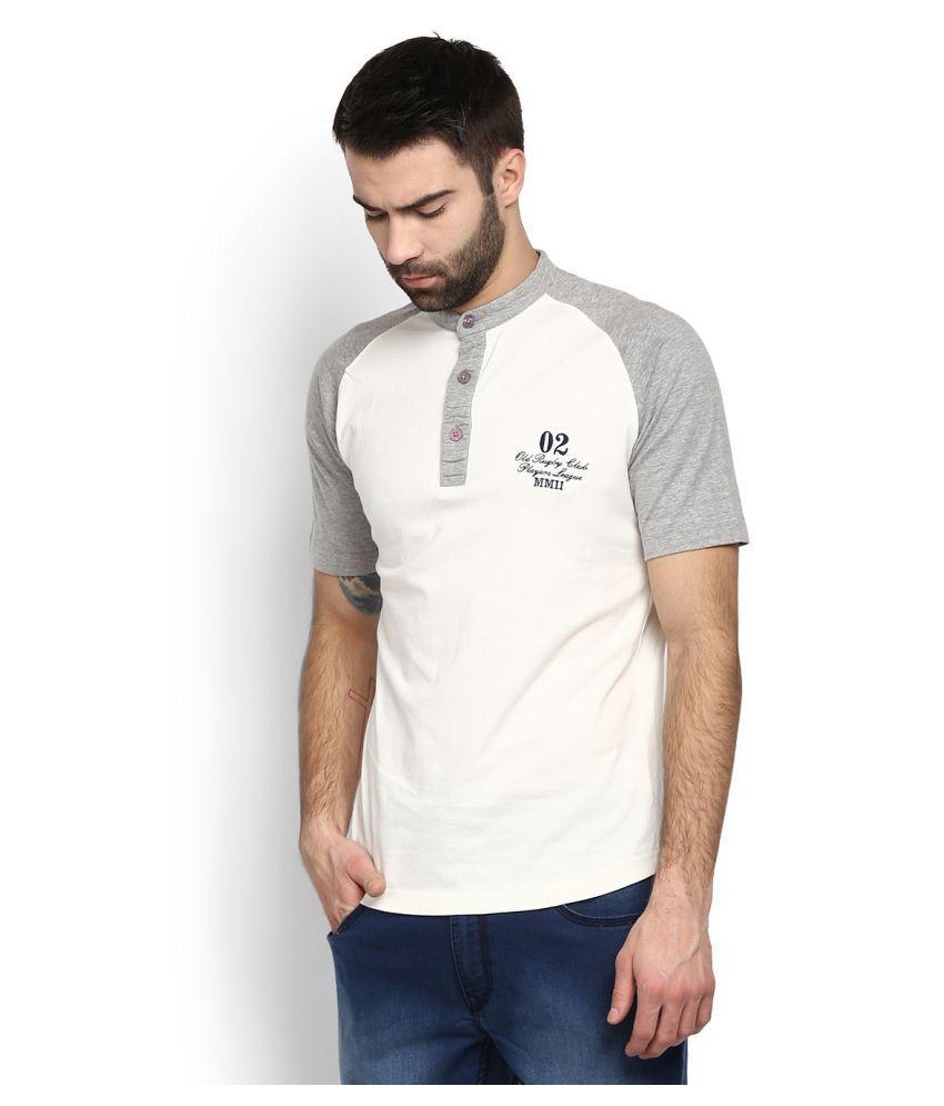 John Players White Henley T-Shirt