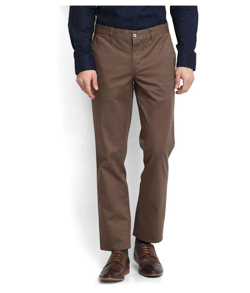 Park Avenue Brown Regular Flat Trousers